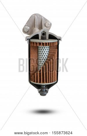 Full-flow Oil Filter Of Car With Rose-shaped Element.