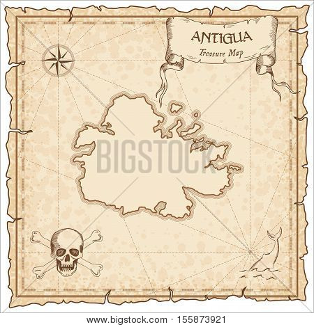 Antigua Old Pirate Map. Sepia Engraved Parchment Template Of Treasure Island. Stylized Manuscript On