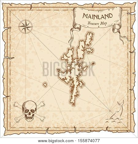 Mainland Old Pirate Map. Sepia Engraved Parchment Template Of Treasure Island. Stylized Manuscript O