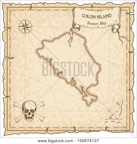 Colon Island Old Pirate Map. Sepia Engraved Parchment Template Of Treasure Island. Stylized Manuscri