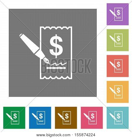 Cheque signing flat icons on simple color square background.