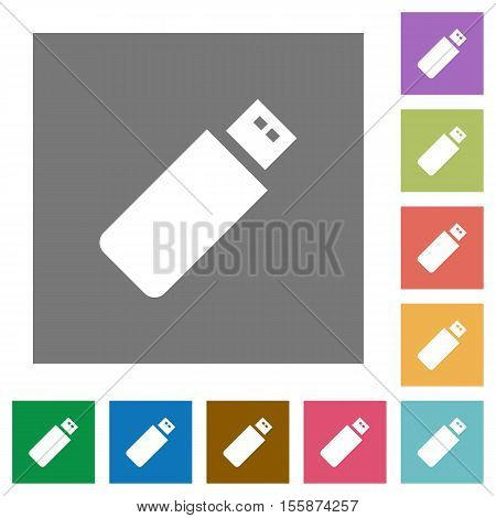 Pendrive flat icons on simple color square background.