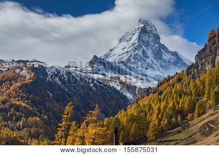 autumn panorama of Mount Matterhorn, Canton of Valais, Switzerland