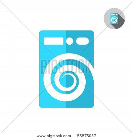 Washer machine logo on white background cleaning and purification concept logo 2d vector illustration eps 8