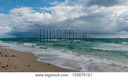 ocean water surface under cloudy sky. Great impression of distance and solitude.