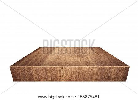 Brown wooden plank, tabletop isolated on white background.