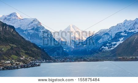 Town and villages in the Canton Uri. Central Switzerland. Road towards Italy Gotthard