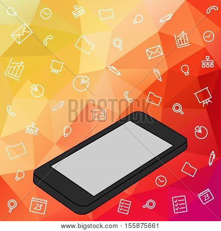 Hand keeps mobile and set icons. Demonstration touch screen of display for market. Internet social network in touch smartphone. Vector flat illustration cloud service and touch technology smartphone