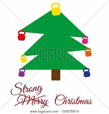 Vector strong Christmas card. Stylized illustration witch christmas tree with kettlebells. Strikethrough text