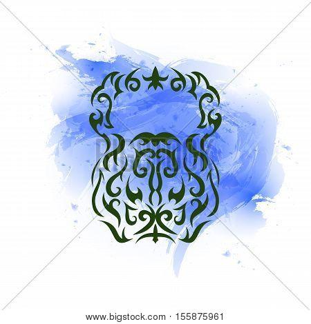 Vector illustration of kettlebell. Kettlebell stylized like tribal art or tattoo. Pictogram on the blue watercolor background.