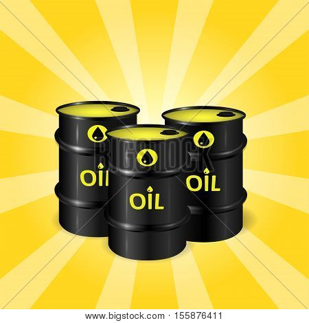 Three realistic oil barrels on sunray background commercial oil storage concept black yellow and orange colors 3d realistic vector illustration eps 10