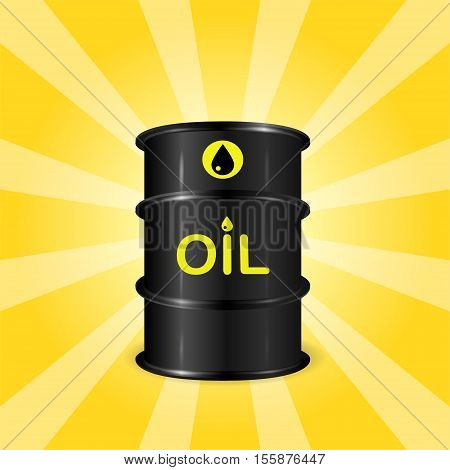 Single realistic oil barrel on sunray background front view concept of oil storage 3d realistic vector illustration eps 10
