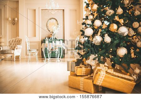 Christmas Living Room With Christmas Tree And Gifts Under It