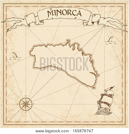 Minorca Old Treasure Map. Sepia Engraved Template Of Pirate Island Parchment. Stylized Manuscript On
