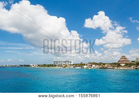 The coast of Cozumel in Mexico from the sea