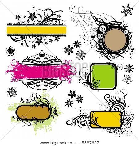 Set of floral frame and design elements