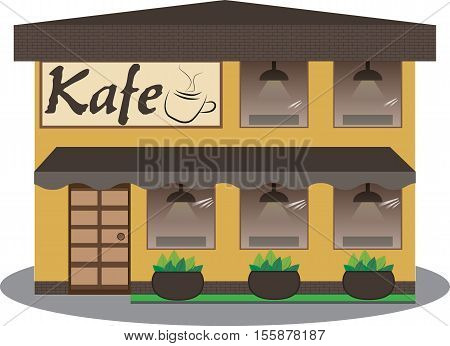 Cafe building facade. Background flat design vector illustration.