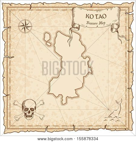 Ko Tao Old Pirate Map. Sepia Engraved Parchment Template Of Treasure Island. Stylized Manuscript On