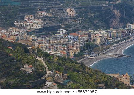 beautiful scenic of amalfi coastal south italy important traveling destination in mediterranian sea