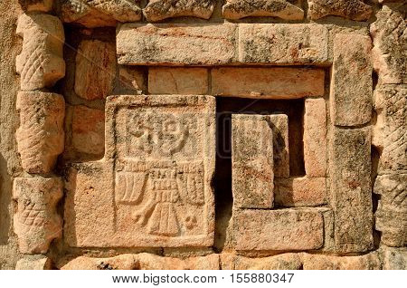 Mexican ornaments and symbols on the pyramids of the Maya of Yucatan.