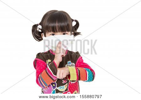 Sick kid with facemask on white background.