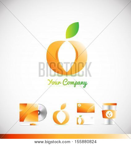 Fruit logo apple orange 3d vector logo icon sign design template corporate identity