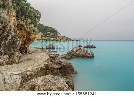 Agios Nikitas Lefkas island Greece at dusk