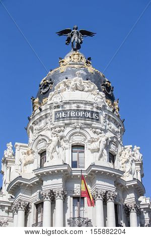 Metropolis palace in madrid spain, neoclassic style