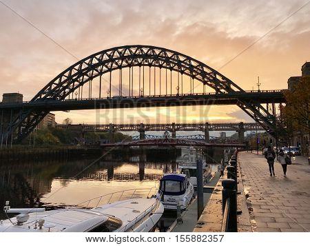 NEWCASTLE - NOVEMBER 9: The Tyne Bridge on November 9, 2016 in Newcastle, UK.