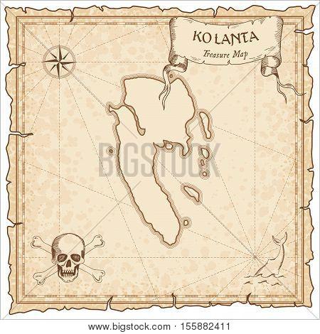 Ko Lanta Old Pirate Map. Sepia Engraved Parchment Template Of Treasure Island. Stylized Manuscript O