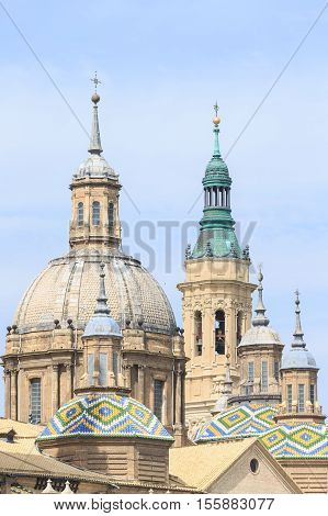 Close up view of Pilar Cathedral in Zaragoza