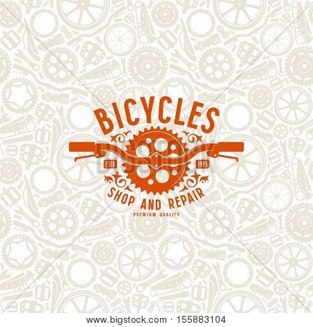 Seamless Pattern And Bike Shop Label