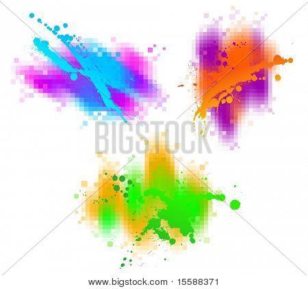Three colorful splashes