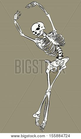 vector illustration sketch of an abstract image of a dancing skeleton