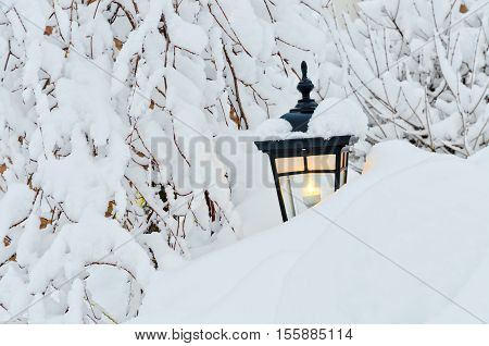 Snow winter and lamp in small Canadian town