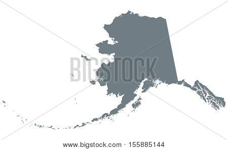 Alaska silhouette. U.S. state in the northwest of the Americas. Dark gray colored illustration on white background.