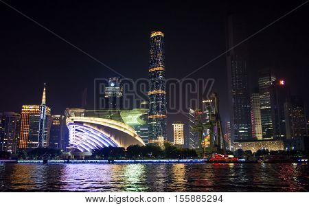 Guangzhou, China - Sep 13, 2016: Night View Of Guangzhou City Waterline Cityscape