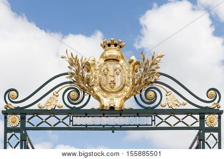 CHANTILLY FRANCE JUNE 19 2014:view of decoration of the gate in Chantilly castle of France on June 19 2014. It is a historic castle located in the town of Chantilly. It houses the Museum of Conde