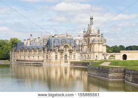 CHANTILLY FRANCE JUNE 19 2014: view of Chateau de Chantilly on June 19 2014. It is a historic castle located in the town of Chantilly. It houses the Museum of Conde