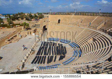 CAESAREA ISRAEL 01 11 16: Caesarea roman theater at Caesarea Maritima is an Israeli National Park in the Sharon plain, including the ancient remains of the coastal city of Caesarea.