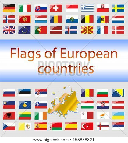 Flags of European countries on a white background. Vector Graphics. Illustrations for info-graphics. States of Europe.