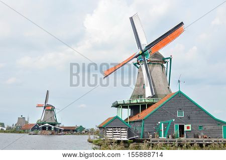 Windmills In Villlage Zaanse Schans, Holland