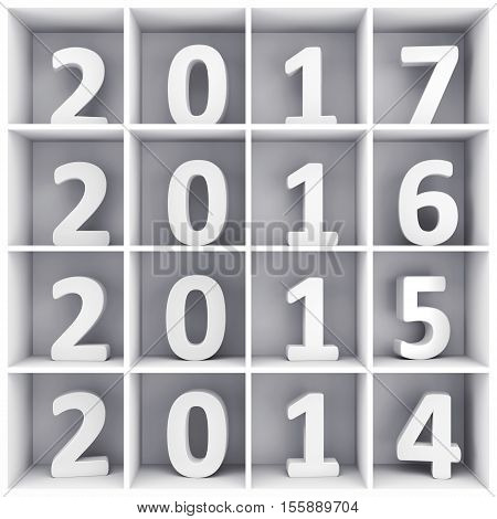 2017 New Year and Merry Christmas concept. White number symbols placed on square book shelf. 3D illustration