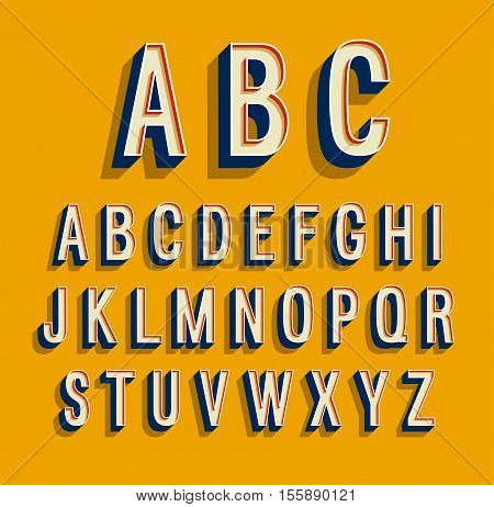 Retro alphabet on yellow background. Vector illustration.