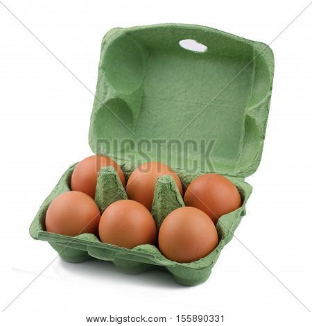 side view of green eco six egg cardboard open packaging isolated on white background