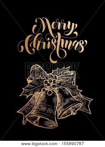 Merry Christmas jingle bells. Gold glitter bell ornament decoration, holly bow tie. Christmas greeting modern trend card, poster lettering design. Vector golden glittering on black background
