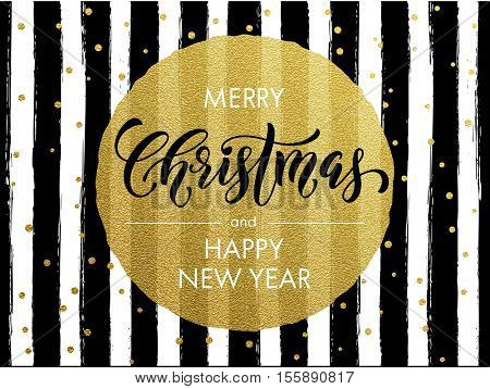 Merry Christmas gold glitter greeting card. Vector black stripes, golden glittering circle ball ornament. Calligraphy lettering modern trend dotted poster background