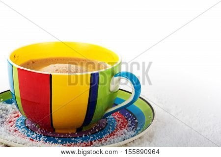 Hot Chocolate In A Bright Colourful Cup