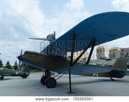 Upper Pyshma, Russia - July 2, 2016: The Soviet reconnaissance aircraft P-5 sample of 1928 - an exhibit of the Museum of Military Equipment.