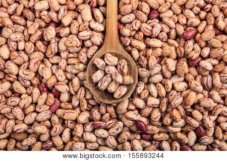 Wooden Spoon And Pinto Beans